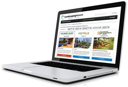 laptop screenshot of Landscaping Network